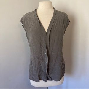 *2/15* Max Studio Button Silk Top Shirt Blouse